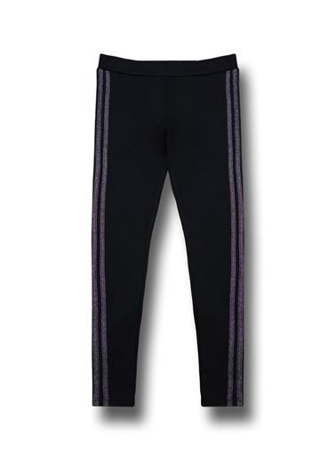 By Leyal For Kids Kenarları Şerit Detaylı Tayt Pantolon-71080 Siyah